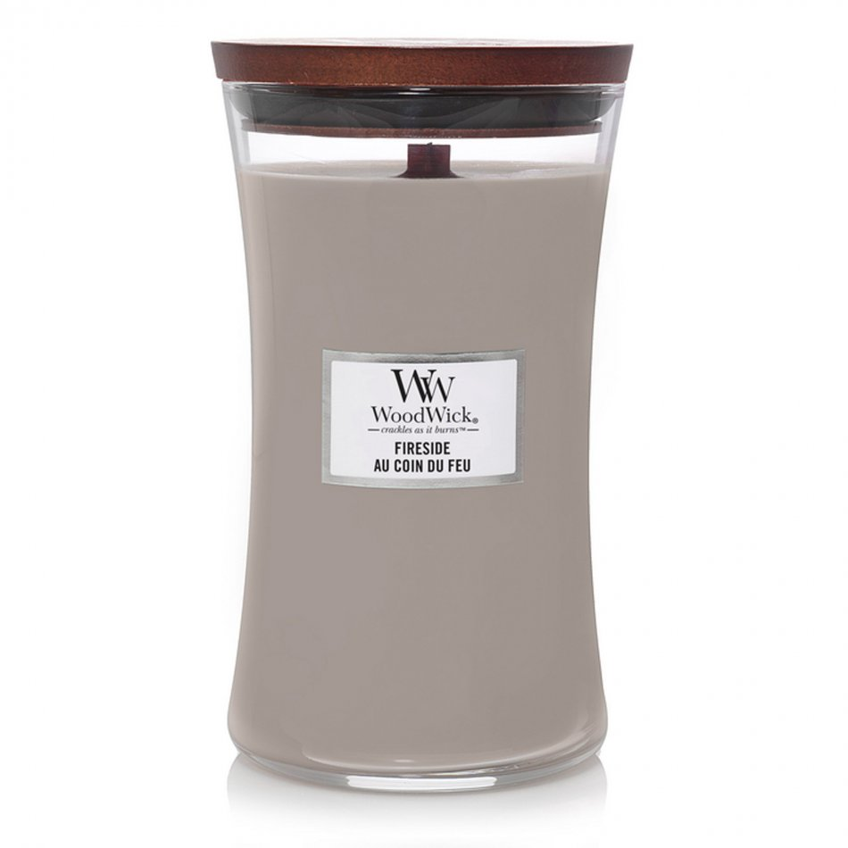 Woodwick Hourglass Large Geurkaars - Fireside